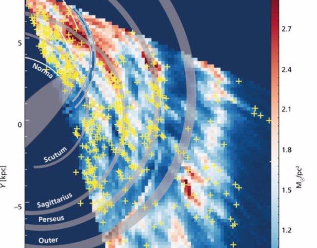 Reconstrucción de la distribución de gas hidrógeno en una porción de la Vía Láctea basada en las observaciones del estudio THOR.