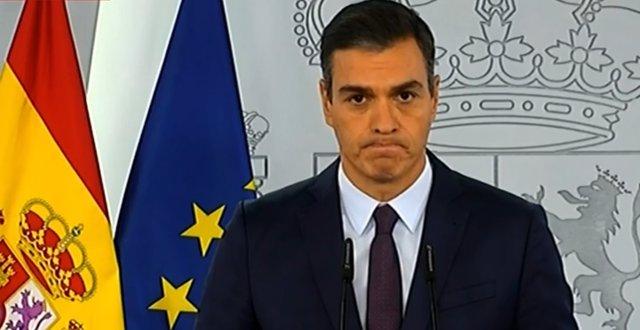 Pedro Sánchez fa una declaració institucional a La Moncloa sobre la pandèmia