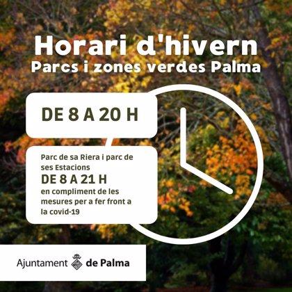 Los parques y zonas verdes de Palma cambian su horario y cerrarán a las 20.00 horas