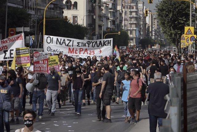 Protestes contra Alba Daurada a Tessalònica.
