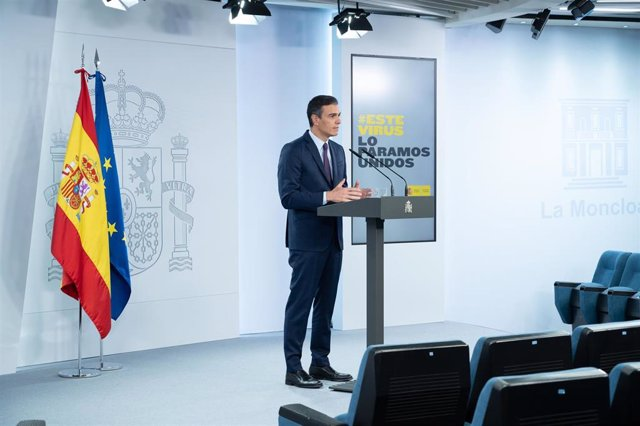El presidente del Gobierno, Pedro Sánchez, en Moncloa