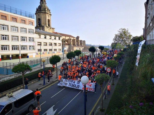 Marcha de trabajadores de estiba del Puerto de Bilbao