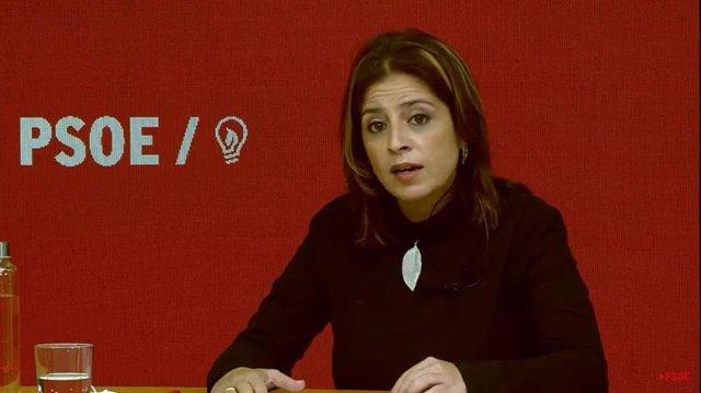 La sotssecretària General del PSOE, Adriana Lastra, durant una jornada sobre Transformació Ecològica i Digital sota el lema 'Pla Llum Verda'.