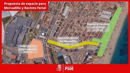 PSOE de Roquetas pide acondicionar la franja litoral de Las Salinas para Mercadillo, feria y aparcamientos