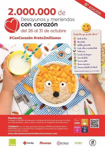 Cruz Roja recogerá del 26 al 31 de octubre desayunos y meriendas para familias en situación de vulnerabilidad