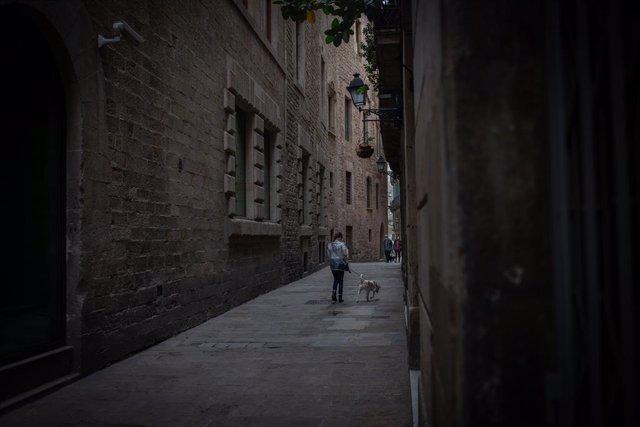 Una persona passeja a un gos per un carrer del Barri Gòtic.