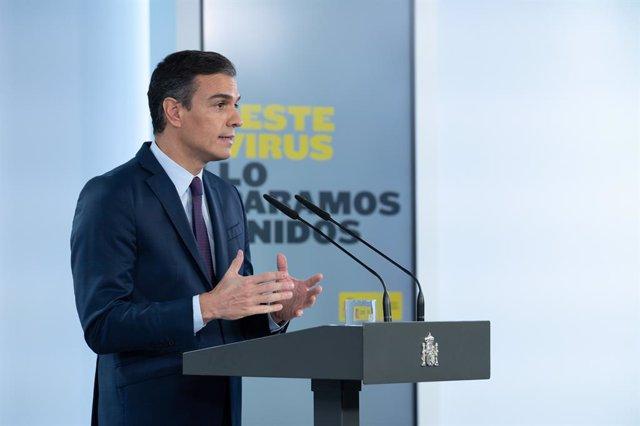 Imagen de recurso del presidente del Gobierno, Pedro Sánchez, durante una declaración institucional, en Madrid (España), a 23 de octubre de 2020.