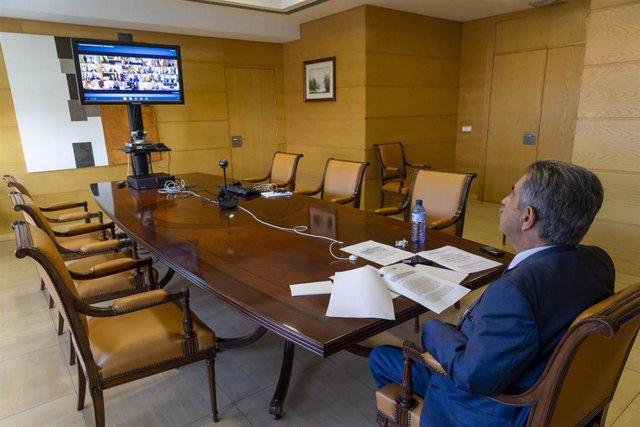 Miguel Ángel Revilla en la reunión entre Pedro Sánchez y los presidentes autonómicos