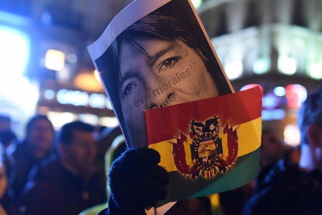 Manifestación en apoyo al expresidente Evo Morales