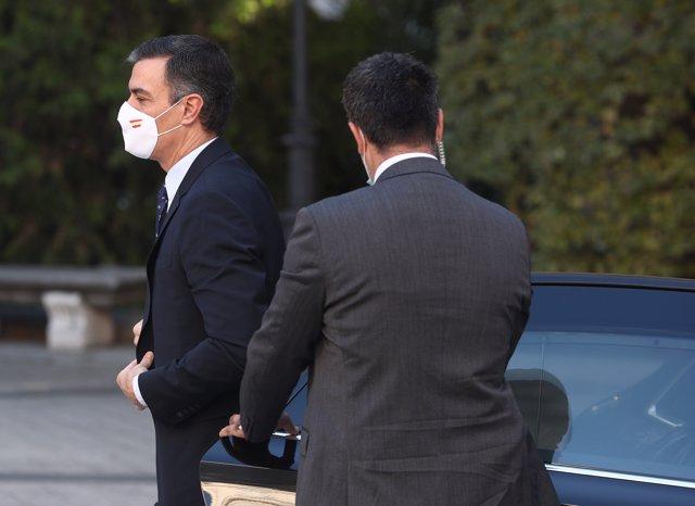 El presidente del Gobierno, Pedro Sánchez, llega al Senado, desde donde dirigirá la XXIII Conferencia de Presidentes.