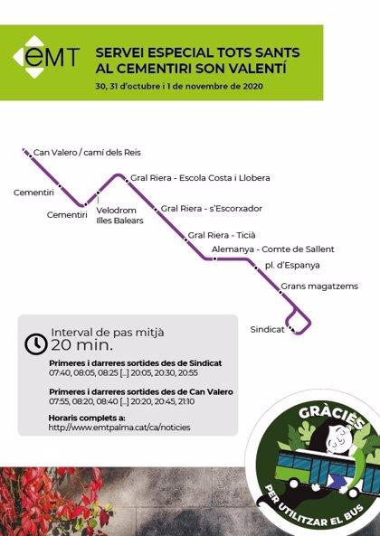 EMT de Palma habilita un servicio especial para acceder al cementerio los días 30, 31 y 1 de noviembre