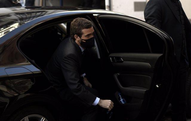 El presidente del PP, Pablo Casado, llega a Casa América para participar en el XXIII Congreso Nacional de la Empresa Familiar, en Madrid (España), a 26 de octubre de 2020.