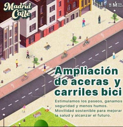 Más Madrid propone sacar las aulas a los parques, comercios en las aceras y 167 km. de carriles bici provisionales