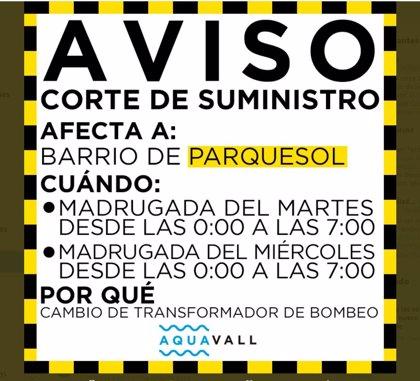 Aquavall anuncia cortes de agua en la madrugada del martes y miércoles en Parquesol por cambios en el bombeo