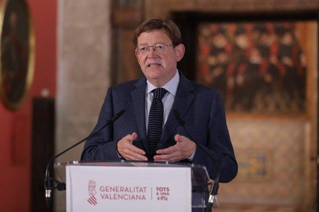 El 'president' de la Generalitat, Ximo Puig, en la declaració institucional realitzada aquest dissabte