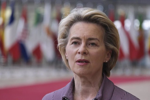 FILED - 15 October 2020, Belgium, Brussels: European Commission President Ursula von der Leyen speaks to media as she arrives to attend a two days European Council summit focusing on Brexit negotiations. Ursula expressed her deep affection with the death