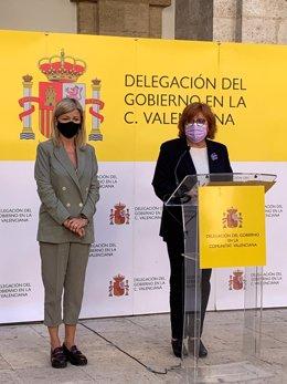 La consellera de Justícia, Gabriela Bravo, i la delegada del Govern a la Comunitat Valenciana, Gloria Calero.