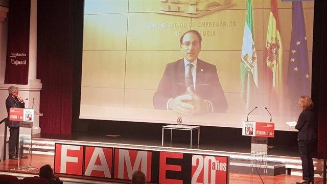 El presidente de la CEA, Javier González de Lara, durante su intervención telemática en la entrega de premios de la Federación Andaluza de Mujeres Empresarias (FAME).