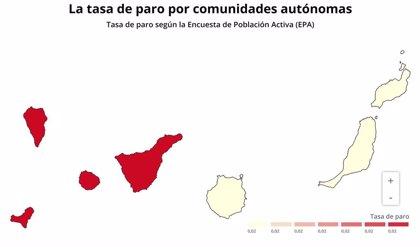 EPA.- AMPL.- El paro en Canarias sube en 47.800 personas en el tercer trimestre de 2020 y alcanza 273.700 desempleados