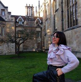 La investigadora Raquel Espejo durante su estancia en la Universidad de Cambridge