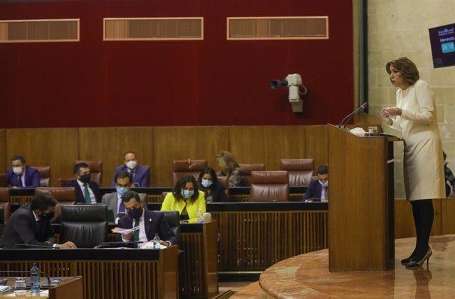 La secretaria general del PSOE-A, Susana Díaz, interviene en el debate sobre el Estado de la Comunidad en el Parlamento andaluz. Sevilla (Andalucía, España), a 20 de octubre de 2020 (Foto de archivo).