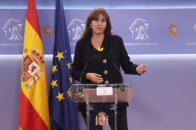 La portaveu de JxCat al Congrés, Laura Borràs, intervé en una roda de premsa. Madrid, (Espanya), 20 d'octubre del 2020.