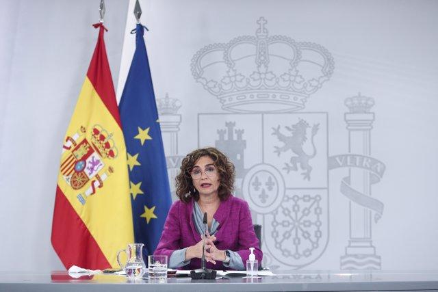 La ministra portavoz y de Hacienda, María Jesús Montero, comparece en rueda de prensa posterior al Consejo de Ministros.