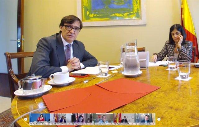 El ministro de Sanidad, Salvador Illa, y la ministra de Política Territorial, Carolina Darias, se reúne con la FEMP.
