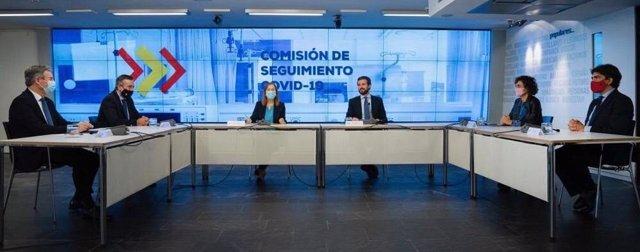 El líder del PP, Pablo Casado, presideix la Comissió de Seguiment de la Covid del PP. Madrid, 27 d'octubre del 2020.