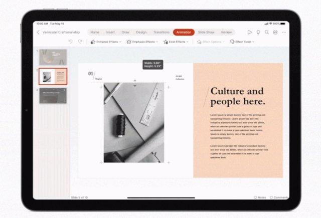 Word, Excel y PowerPoint añaden el soporte para 'trackpad' y ratón en su versión