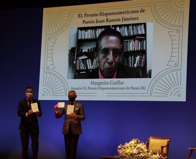 Concesión del Premio Hispanoamericano de Poesía Juan Ramón Jiménez a Margarito Cuéllar