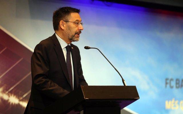 El presidente del FC Barcelona, Josep Maria Bartomeu, en un acto público