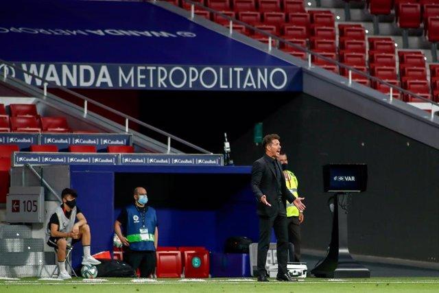 Diego Pablo Simeone durante un partido con el Atlético