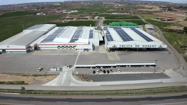 Vista aèria de les instal·lacions de Fruits de Ponent d'Alcarràs, en una imatge d'arxiu. (Horitzontal)