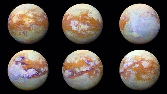 Estas imágenes infrarrojas de Titán, la luna de Saturno, representan algunas de las vistas globales más claras de la superficie helada de la luna.