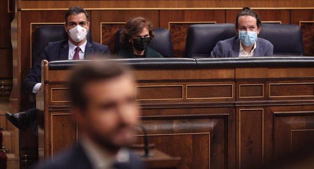 El president del Govern central, Pedro Sánchez, en la intervenció del president del PP, Pablo Casado, al Congrés. Madrid (Espanya), 22 d'octubre del 2020.