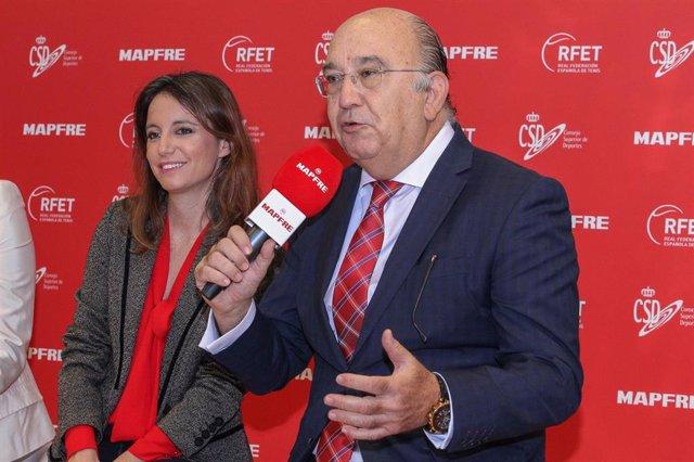 El presidente de la Real Federación Española de Tenis (RFET), Miguel Díaz, durante el anuncio del equipo español para las finales de la Copa Davis