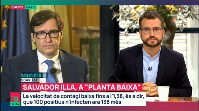El ministro de Sanidad, Salvador Illa, durante una entrevista en el programa 'Planta Baixa' de TV3, este miércoles 28 de octubre al mediodía.