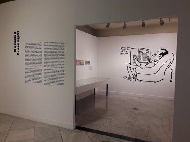 Imatge de la mostra de l'humorista gràfic Ermengol que es pot veure al Museu Morera de Lleida, el 28 d'octubre del 2020. (Horitzontal)