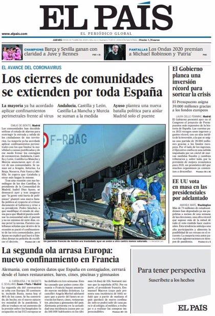 Las portadas de los periódicos del jueves 29 de octubre