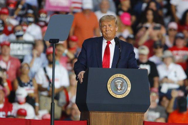 El presidente de Estados Unidos, Donald Trump, durante un mitin electoral celebrado en florida, Miami.