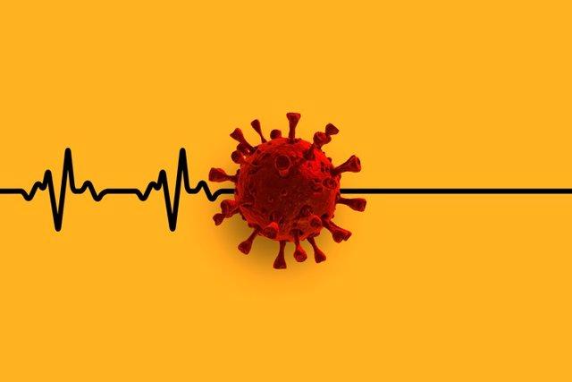 Coronavirus, COVID-19 en un electrocardiograma.