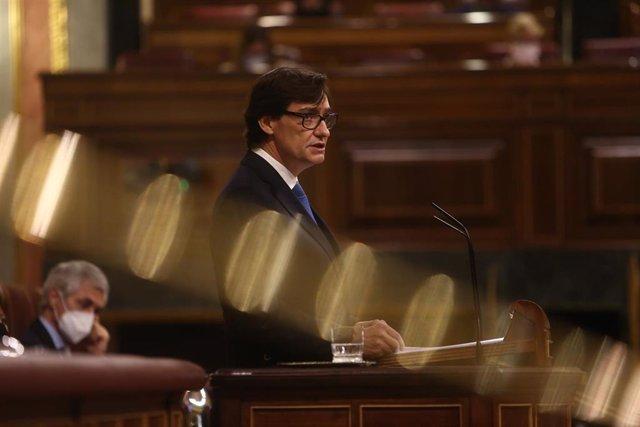 El ministro de Sanidad, Salvador Illa, interviene durante una sesión plenaria en el Congreso de los Diputados, en Madrid, (España), a 29 de octubre de 2020.