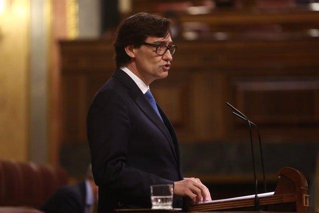 El ministre de Sanitat, Salvador Illa, en una sessió plenària en la qual el Govern central sol·licita al Congrés la pròrroga de l'estat d'alarma. Madrid, (Espanya), 29 d'octubre del 2020.