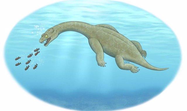 Una ilustración de Brevicaudosaurus.