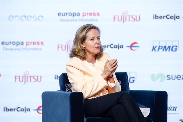 La vicepresidenta tercera i ministra d'Afers Econòmics i Transformació Digital, Nadia Calviño, en un esmorzar informatiu d'Europa Press. Madrid (Espanya), 29 d'octubre del 2020.