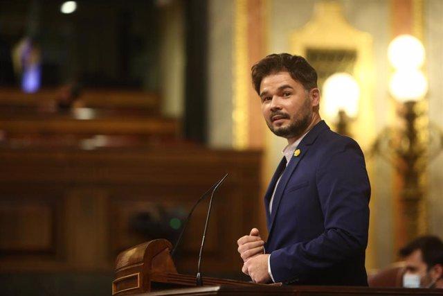 El portavoz de ERC en el Congreso, Gabriel Rufián, interviene en el pleno