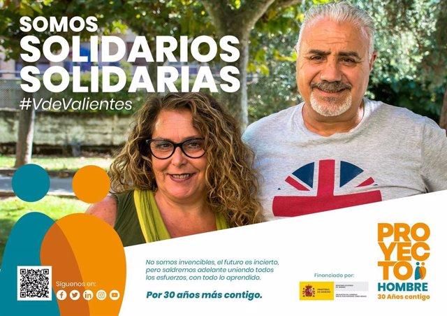 Uno de los carteles de la campaña de sensibilización 'V de Valientes' del Proyecto Hombre