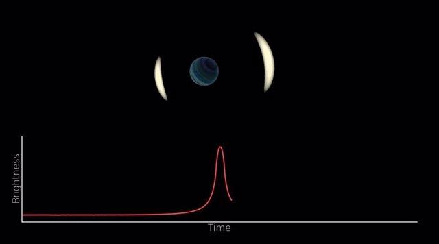 La impresión de un artista de un evento de microlente gravitacional por un plane