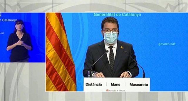 El vicepresidente del Govern, Pere Aragonès, en rueda de prensa el 29 de octubre de 2020.